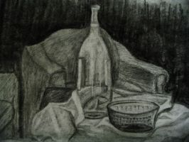 still life with bottle by seeleah