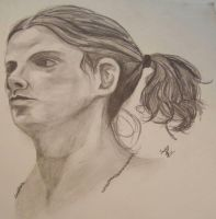 Figure Study - Face in Pencil by RheaZar