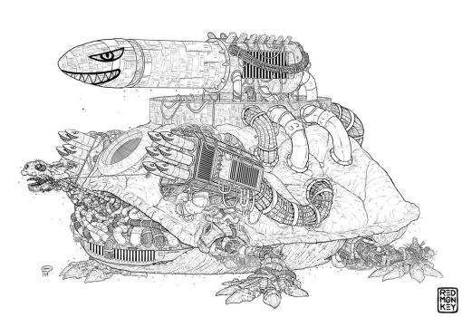 Giant Fossil Robot Turtle by red-monkey