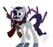Rarity with a gun by Theorous