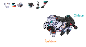 Reshiram and Zekrom The Dragons Sprites by FrostBurned-Soul