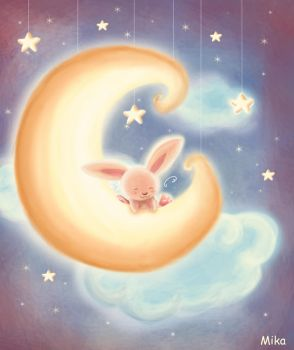 Bunny on the moon by mikakoO