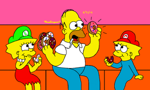 Donut Time with Homer by MarioSimpson1