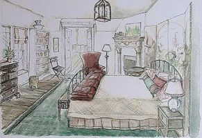 Bedroom rendering - watercolor by paintedaugusta
