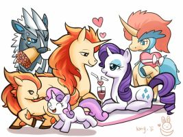 Rarity and Sweetiebelle with Ponies in pokemon by kongyi