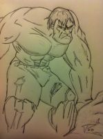 Sketch of Hulk before color by Pegarissimo