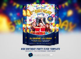 Kids Birthday Party Flyer Template by ranvx54