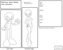 Sonic Female Reference Sheet Base by debsie911