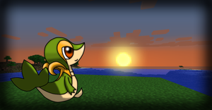 Snivy at Minecraftian sunset? Remake by SirNorm