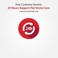 Free Customer Service 24 Hours Support Flat Vector by AlsusArt
