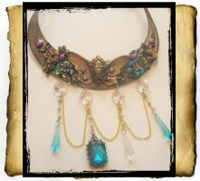Fairy Collar Necklace Blue Aqua by grimdeva
