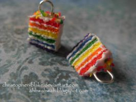 Rainbow Cake Charms by abohemianbazaar
