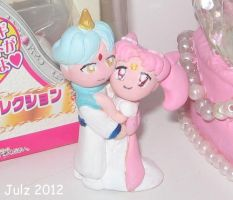 Chibi-Usa and Helios Mini Figures by milky-tales
