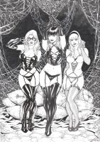 Blackcat,Maryjane and Gwenstacy by Alissonart