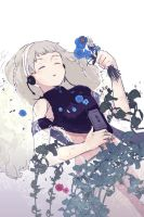 Ophelia drawing with an old walkman2 by omiomikekyu