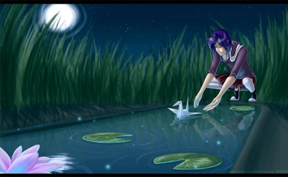 Paper Cranes And Lilypads by scrii