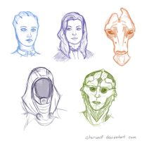 Mass Effect 3 sketches by starwolf94