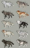 Semi-Realistic Wolf Adoptables Set 4 - CLOSED by Therbis