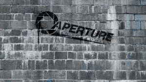 Aperture labs new logo on wall by R-evolution-GFX