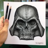 Darth Vader Skull Drawing by AtomiccircuS