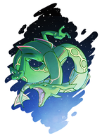 Favorite Dragon Type: Rayquaza by KatieOsika