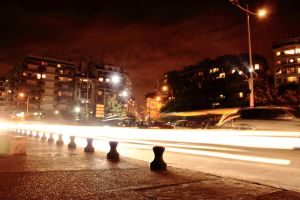 Light trails in front of White Tower by Fortisinprocella