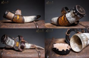 Handmade Leather horn holder, by Aetherwerk