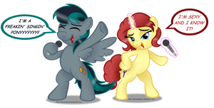 Two freakin' singin' ponies by AleximusPrime