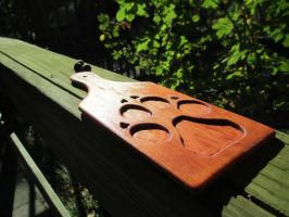 Carved Paw Print Paddle by user-name-not-found