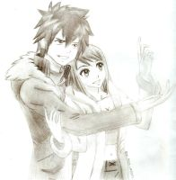Fairy tail Lucy and Gray by monimoni305
