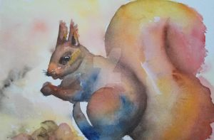Squirrel watercolor by MarinaPlazaG