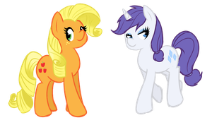 Mane-swapped Applejack and Rarity by shadowkixx