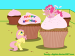 CM: Fluttershy and Pinkie Pie in Cupcake Land by Sandy--Apples
