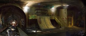 Skateboarding Basement by Tomsleeps