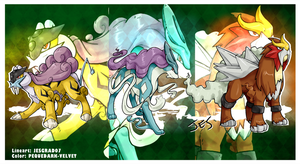 Pokemon Fanart .: Legendary Beasts:. by PEQUEDARK-VELVET