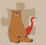 A Bear and a Bird by rollingrabbit