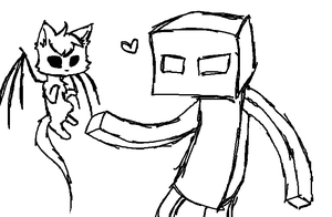 Enderman and Voidcat by Blueshadow54