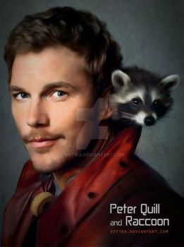 Peter Quill and Raccoon by Kot1ka