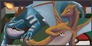 BATTLE Charizard vs Feraligatr by Flamma-Lea