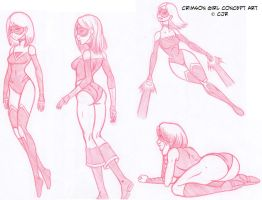 Crimson Girl Concept Art by X-Cross