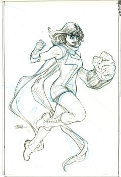 Inhumans Vs X-Men #3 Ms Marvel Pencils by TerryDodson
