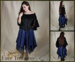 Navy Blue Satin Eight Pointed Pixie Skirt by CrystalKittyCat