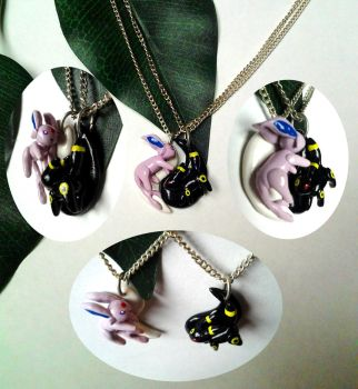 Espeon and Umbreon Yin and Yang Necklace Pair by altaiira
