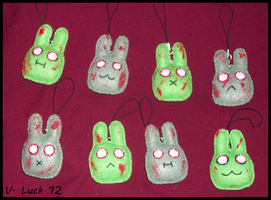 Zombie Bunny Charms by beanchan