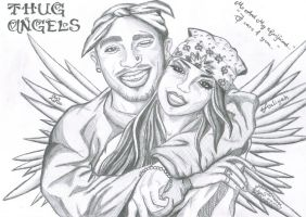 Thug Angels Aaliyah and 2Pac by Agnes2704