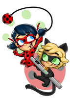 Ladybug and Chat Noir by trujayy