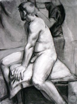 Seated Male Nude by woogieboi
