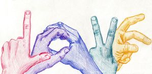 LOVE- a five-hand study by just-a-runner
