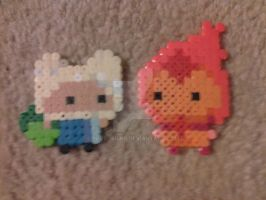 Perler Bead Flame Princess and Finn by PlutosBird