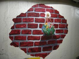 Bricks and Flowers Mural by Lostro